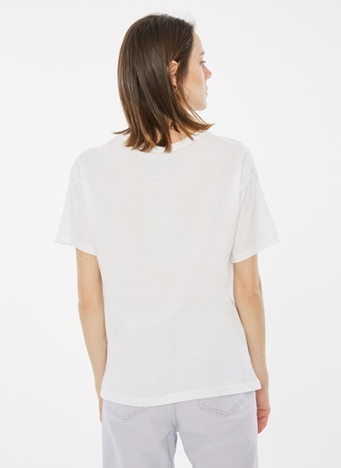 Loves You Otobüs Baskılı Loose Fit T-Shirt Beyaz